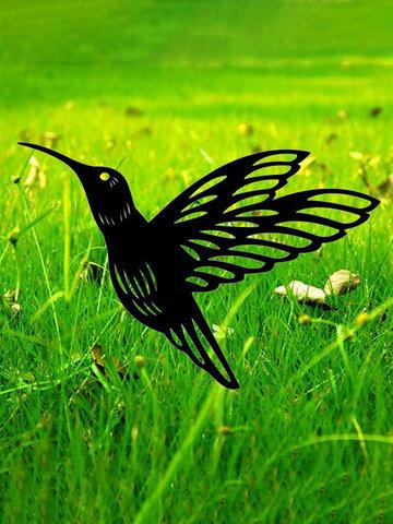 Simulação inovadora de acrílico Beija-flor Decoração de jardim ao ar livre Inserir cartão Arte Decoração oca Artesanato Enfeites de quintal para casa