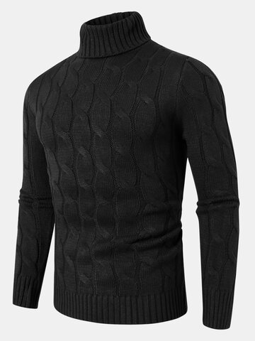 Twisted Knitted High Neck Basic Sweater