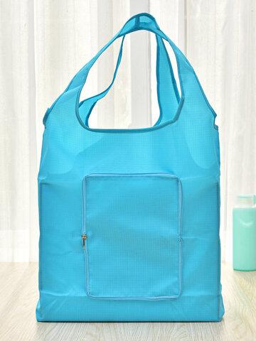 Solid Polyester Waterproof Shopping Bag Reusable Foldable Tote Shoulder Bag
