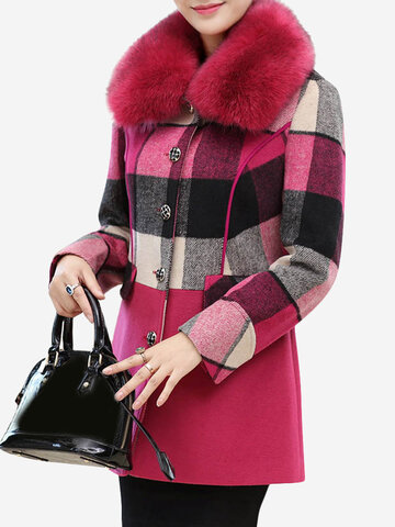 Elegant Women Plaid Cotton Coats