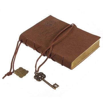 10X14CM klassische Retro lederne Schlüssel-unbelegte Tagebuch-Notizbuch-Weinlese-Schnur-Journal-Skizzenbuch