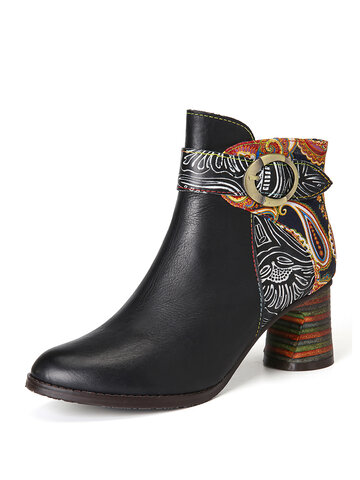 SOCOFY Ankle fivela Strap Decor Retro Floral Impresso Splicing Couro Comfy Chunky Heel Boots