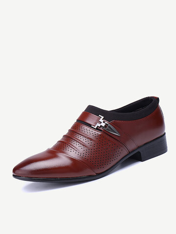 Men Hollow Out Pointed Toe Business Dress Shoes