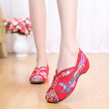 Chaussures Brodées Phénix Plates Vintages De Vieux Pékin
