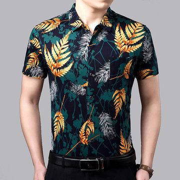 Short-sleeved Shirt Men's Season New Young And Middle-aged Men's Printed Shirt Trend Shirt