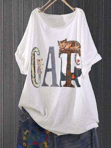 Cartoon Print T-shirt, White