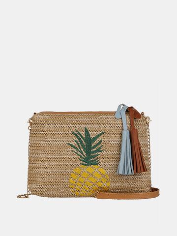 Pineapple Embroidery Straw Cute Beach Bag