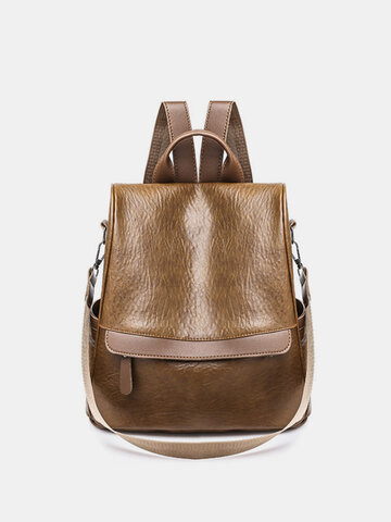 Women Faux Leather Large Capacity Backpack