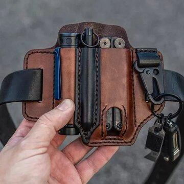 Vera Pelle EDC Cintura Fodero multiutensile con vita ad anello