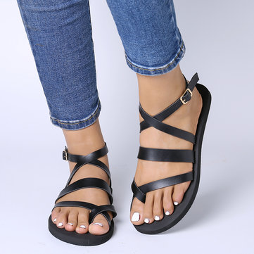 Cross Strap Flat Gladiator Sandals