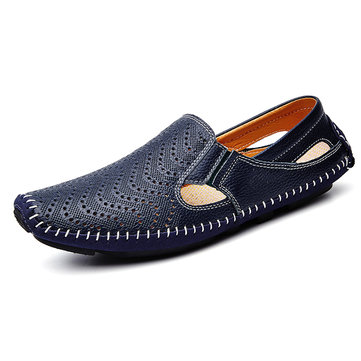 Men Breathable Hollow Out Stitching Loafers Low-top Slip On Casual Shoes, White yellow dark blue black brown
