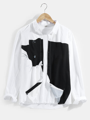 Cute Big Cat Print Cotton Shirt