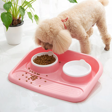 Pet Supplies Food Bowl Thickening Anti-Skid Pet Double Bowl