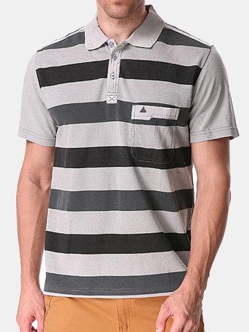 Baumwolle Streifen Bedrucktes Umlegekragen Kurzärmeliges Casual Geschäft Polohemd Für Männer