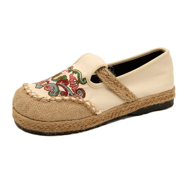 Embroidery Pattern Retro Flat Shoes фото