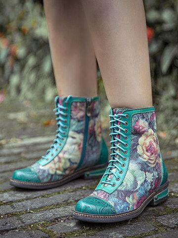 Socofy Retro Blumendruck Combat Stiefel