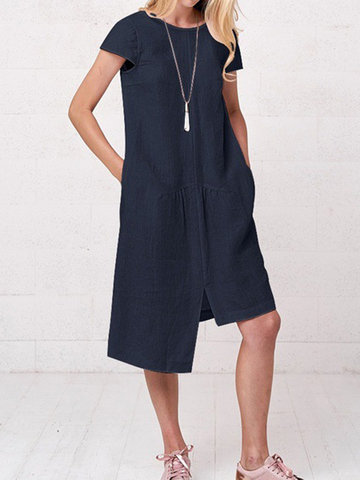 Casual Solid Color Asymmetrical Dress