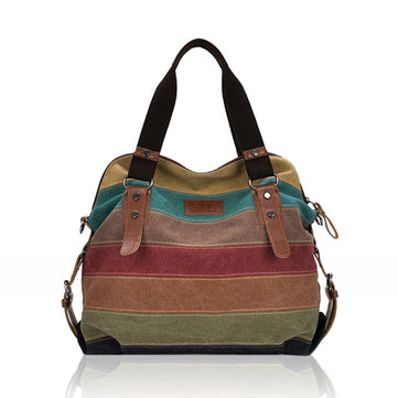 Donna Borsa a Mano e da Spalla Casual Tessutoa di Tela a Righe in Blocking-Color  con Multi-Tasche