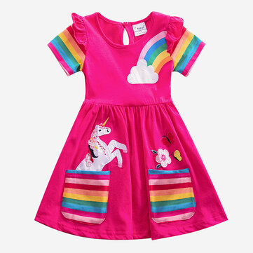 Girls Unicorn Striped Print Dress For 3-8Y