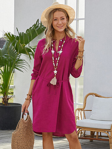 Solid Color Waistband Casual Dress