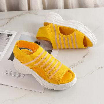 Однотонный дышащий носок с открытым носком Сандалии