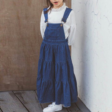 Straps Pocket Denim Dress For 4-15Y