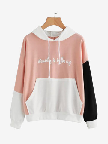 Color Matching Patchwork Hooded Sweatshirt