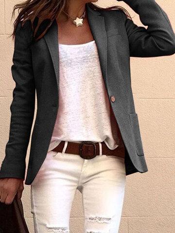 Women Solid Color Casual Jacket