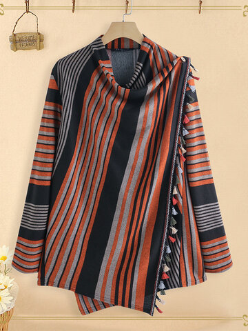 Stripe Tassel Wrap Knit Shawl Cardigan