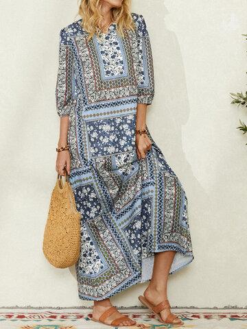 Ethnischer Blumendruck Maxi Kleid