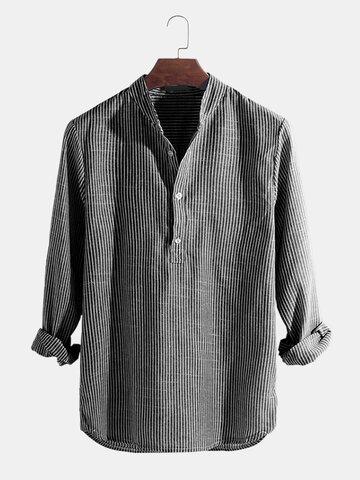 Mens Cotton Stand Collar Long Sleeve Henley Shirt