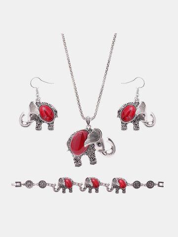 Cute Jewelry Set Elephant Red Turquoise Earrings Necklace Bracelet Set