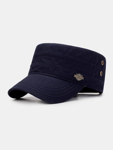 Men Solid Color Military Hat