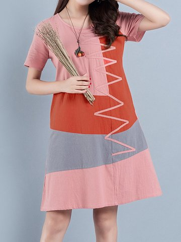 Casual Patchwork Multi-color Short Sleeve O-neck Dress For Women, Pink green orange