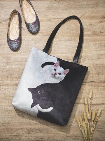 Black White Cats Pattern Tote