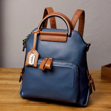 Women Faux Leather Pure Color Backpack Shoulder Bag