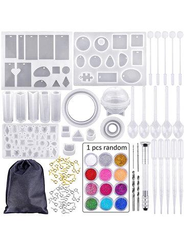 83 Pcs / सेट सिलिकॉन मोल्ड के लिए राल सिलिकॉन यूवी राल DIY क्ले Epoxy राल कास्टिंग नए नए साँचे और उपकरण गहने के साथ बैग के साथ सेट