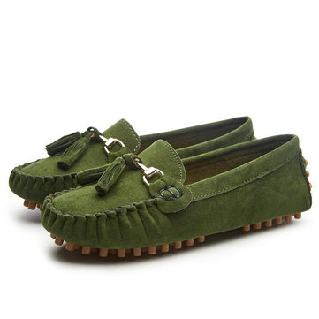 Suede Tassel Casual Moccasins, Green black wine red