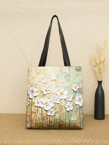 White Floral Pattern Tote