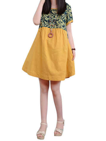 Casual Floral Printed Patchwork Cotton Linen Mini Dress