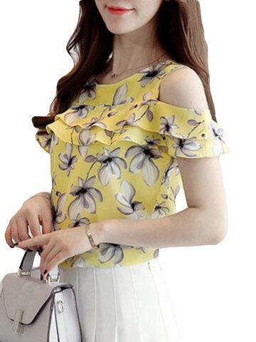 T-shirt impressos florais do Fora-ombro de Ruffe