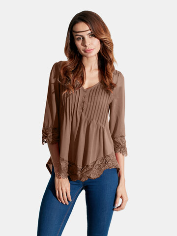 Sexy Lace Crochet V-Neck Blouse