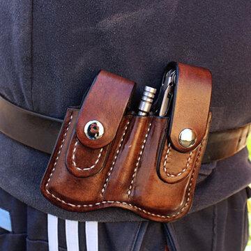 Men EDC Genuine Leather Retro Belt Bag