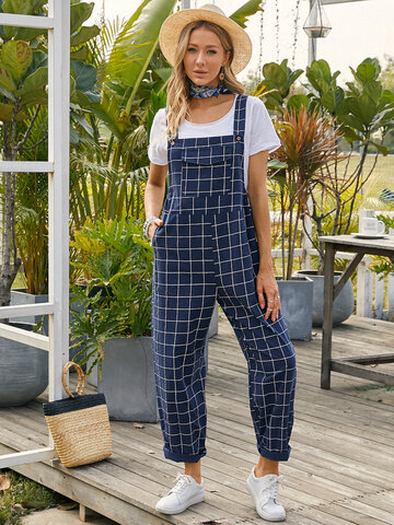 Plaid Print Pocket Casual Jumpsuit