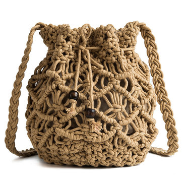 Women Hollow Woven Crossbody Bag Bucket Bag