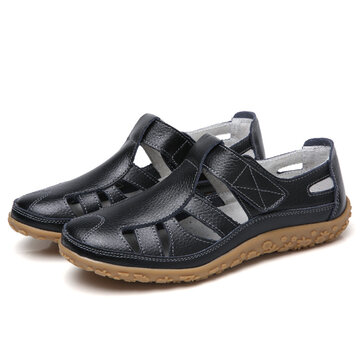 Leather Hollow Hook Loop Shoes