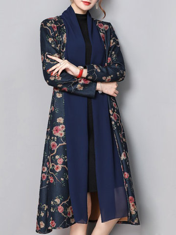 Floral Printed Mid-Long Trench Coats, Navy