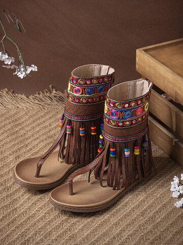 Embroidery Comfy Clip Toe Flat Sandals