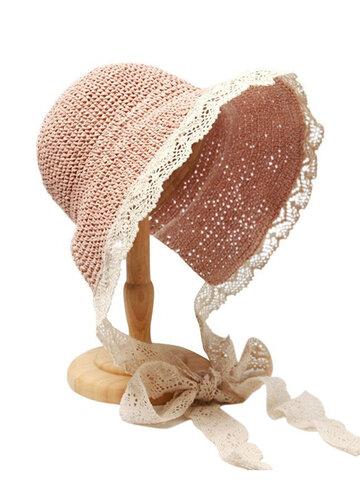 Lace Brim Foldable Sunscreen Bucket Straw Hat