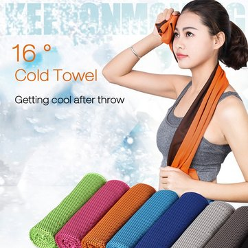 31x100cm Microfiber Squishy Absorbent Summer Cold Towel Sports Travel Cooling Washcloth, Green yellow dark blue purple pink rose red